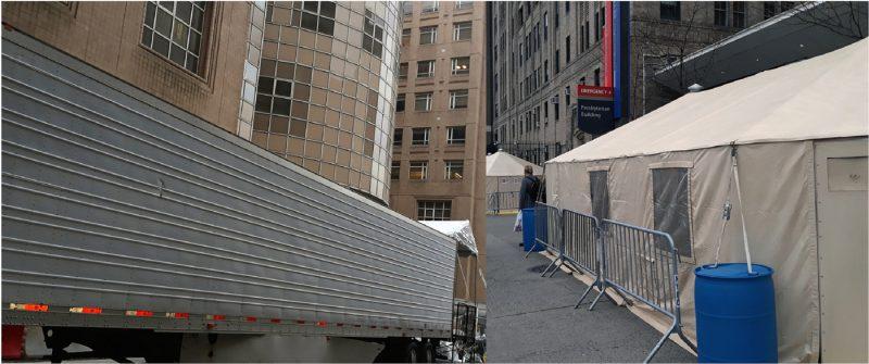 Improvisan morgues y carpas en hospitales Alto Manhattan