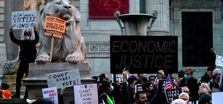 Apresamientos en manifestación contra Trump